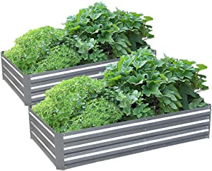 Galvanized Steel Raised Garden Bed Kit Extra Height Elevated Planter Box Steel Large Vegetable Flower Bed Kit (3 x 6 x 1 Ft, Zin---2 Pack)