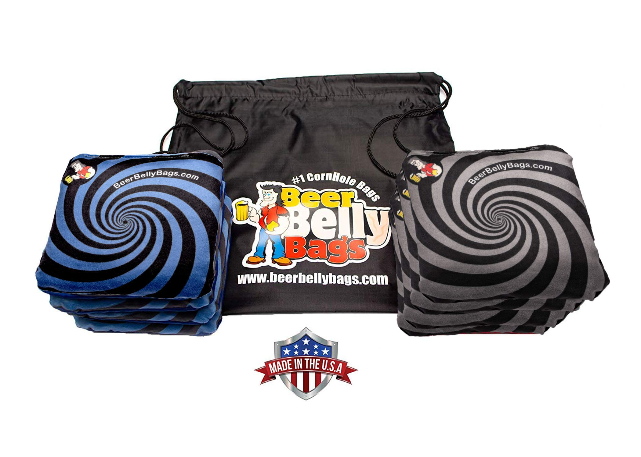 Beer Belly Bags Cornhole - Performance Series 8/pcs ACL Approved Resin Filled - Double Sided - Sticky Side | Slick Side (Black/Blue Spiral)