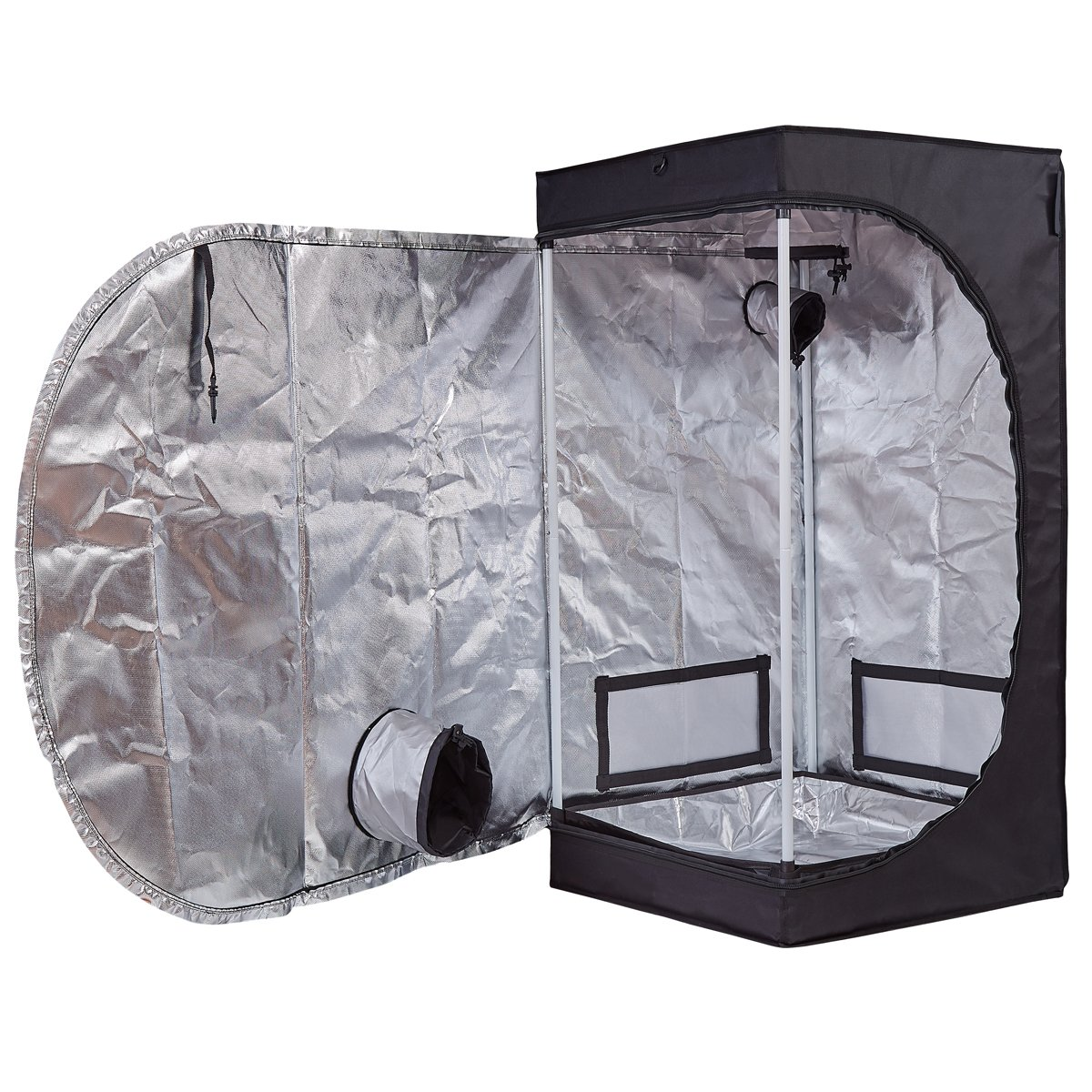 BloomGrow 24 x24 x48 600D Mylar Hydroponic Water-Resistant Grow Tent with Plastic Corner Removable Floor Tray for Indoor Plant Growing 24 x24 x48