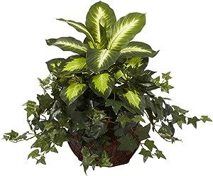Nearly Natural Dieffenbachia & Ivy w/Decorative Planter
