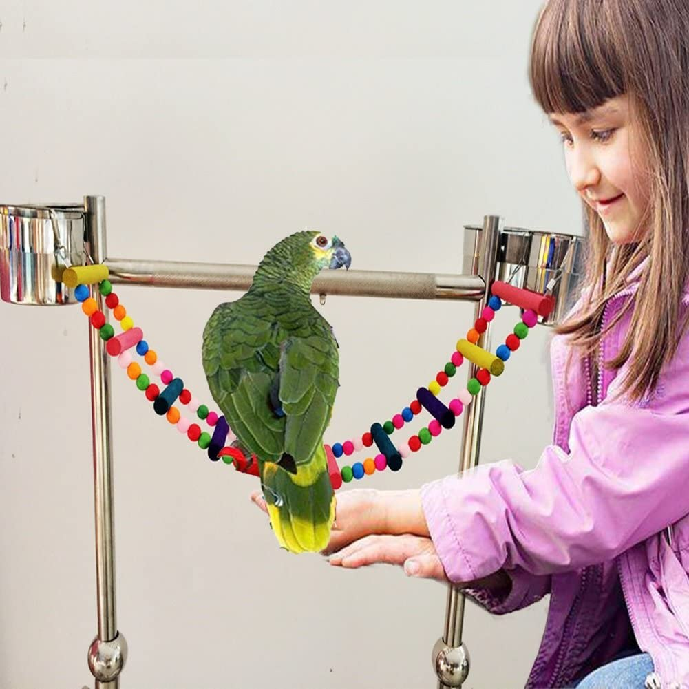 Natural Rope Ladder Birds Toy Parrot Hanging Perches Swing Cage Accessories Decorative Birdcage Training HEEPDD Bird Bridge