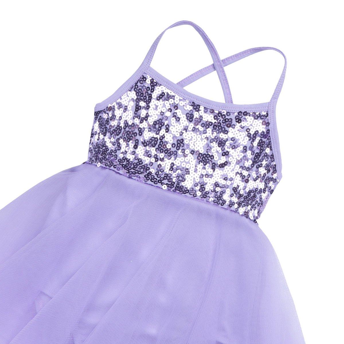 CHICTRY Girls Children Shiny Sequined Ballet Skirted Dance Leotard Dress Fancy Party Costume