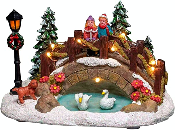 Konstsmide Lit Scene Bridge Over Pond Christmas