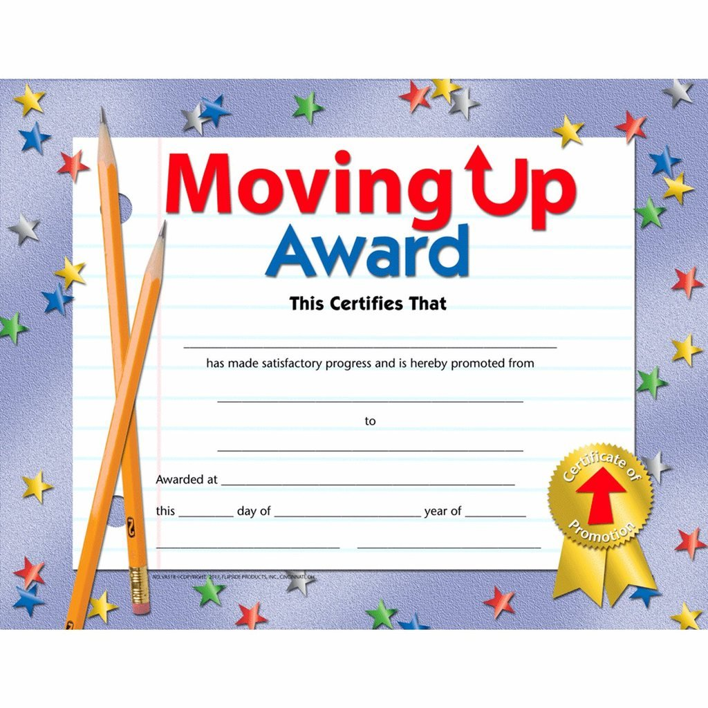 Moving Up Award Certificate - Glossy Paper - Quantity 150