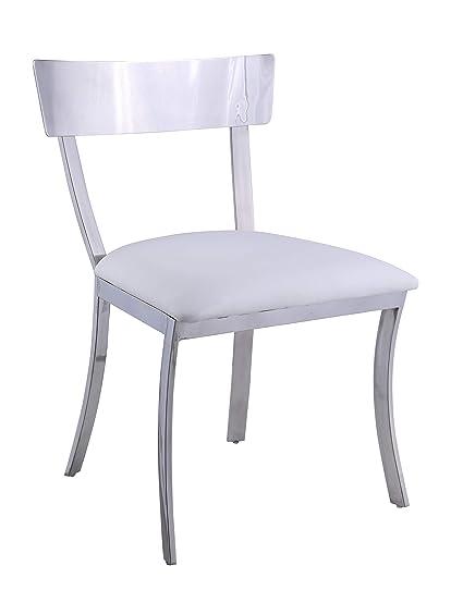 Brilliant Amazon Com Milan Sc Wht Melanie Dining Chair White Chairs Creativecarmelina Interior Chair Design Creativecarmelinacom
