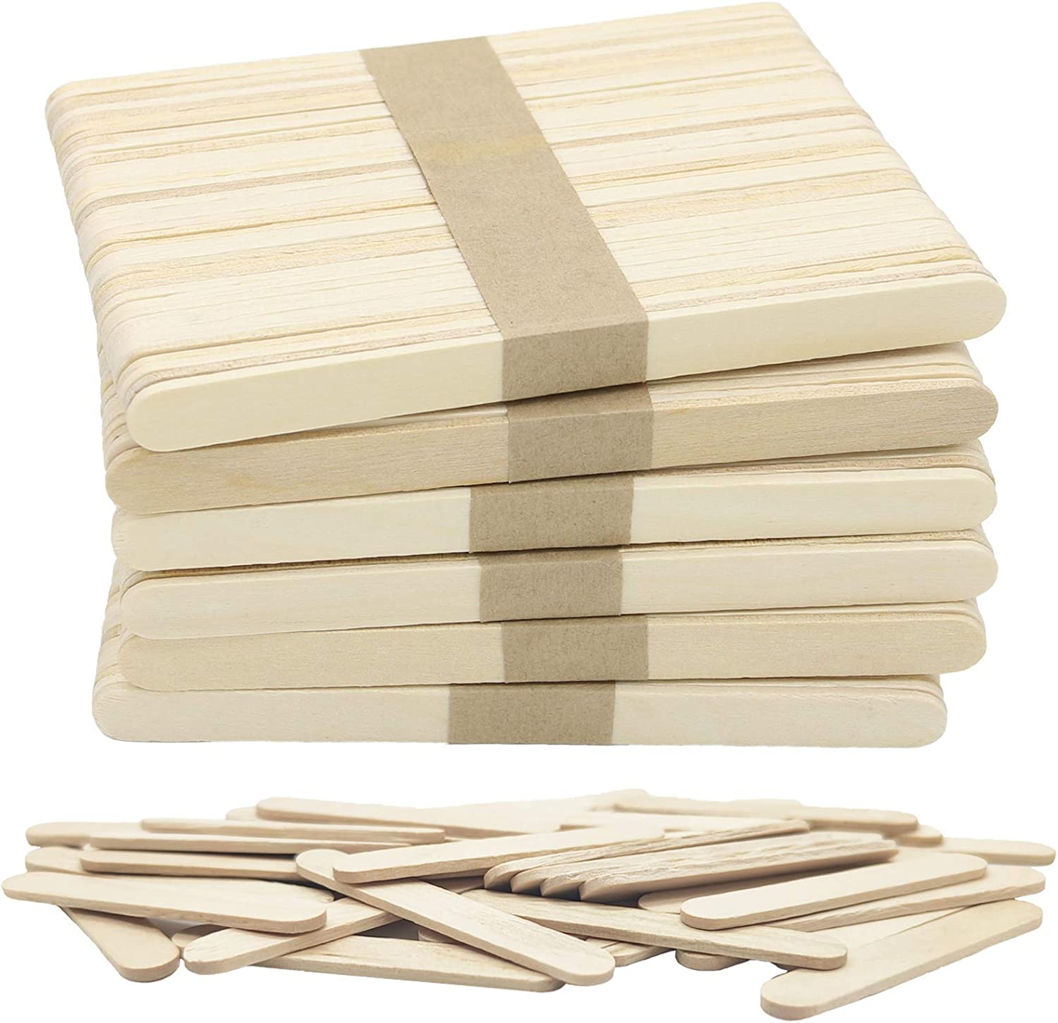 240 Pcs Natural Wood Craft Sticks, Popsicle Sticks, Lolly Sticks for Crafts 4.5 Inch, Ideal for Homeschool Arts and Crafts, Waxing Supplies, Classroom Art Supplies