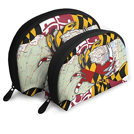 6893916ac5ea Charm Trend Maryland Flag Travel Makeup Bag- Half Moon Cosmetic Pouch  Multifunctional Train Case Pencil