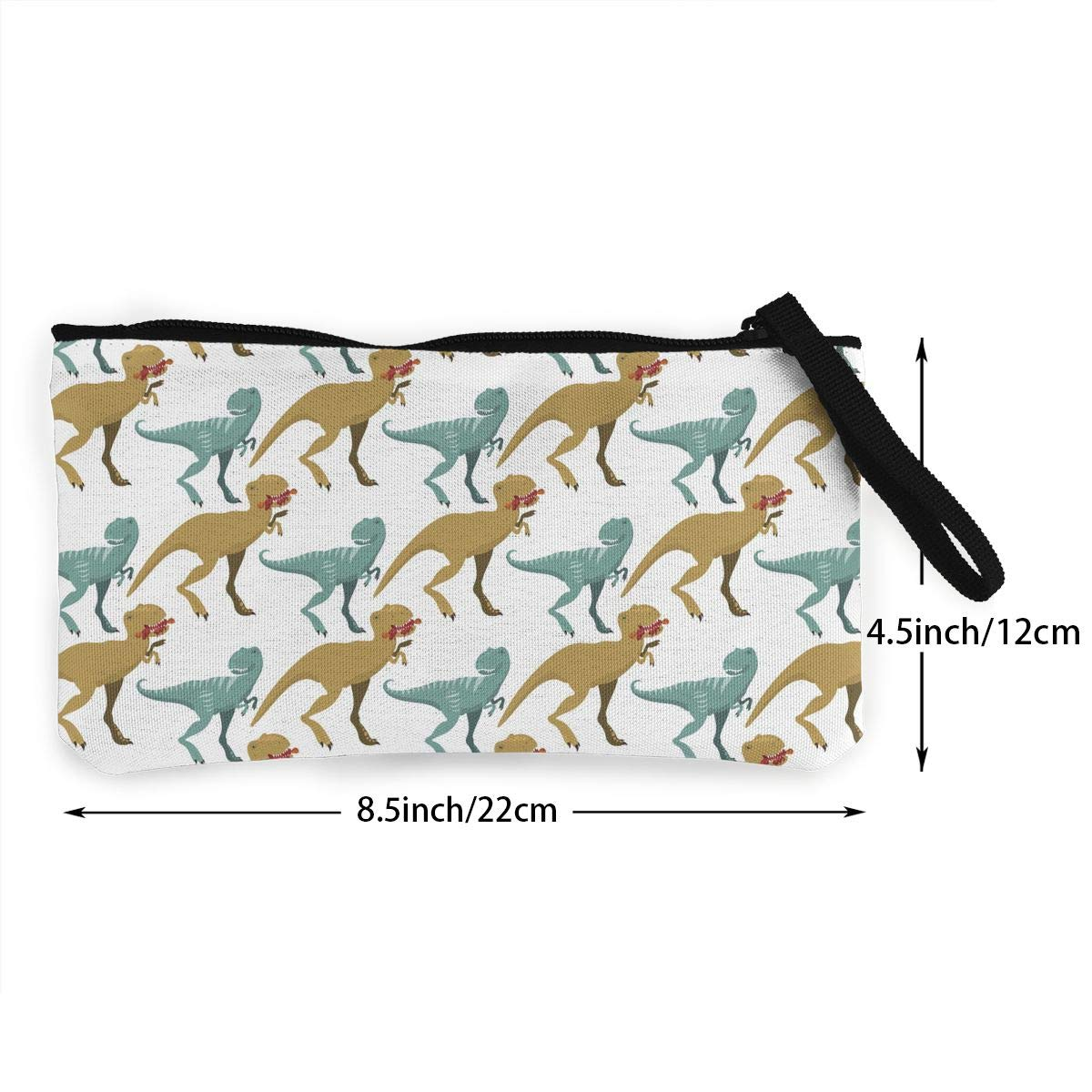 Scary Dinosaurs Pattern Canvas Change Coin Purse Assorted Wallet Bag with Zip