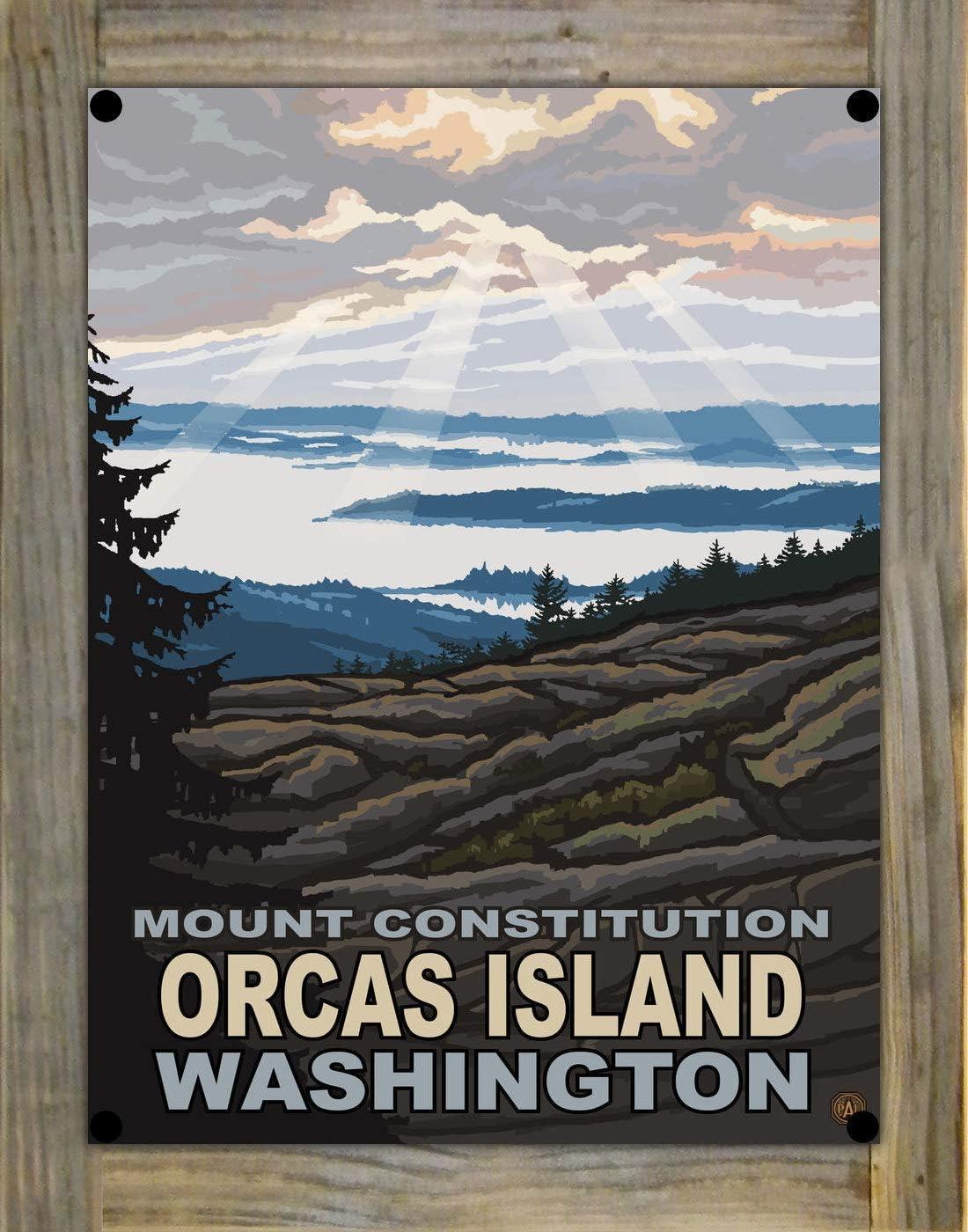 Northwest Art Mall Mount Constitution Orcas Island Washington Metal Print on Reclaimed Barn Wood from Original Travel Artwork by Artist Paul A. Lanquist 9