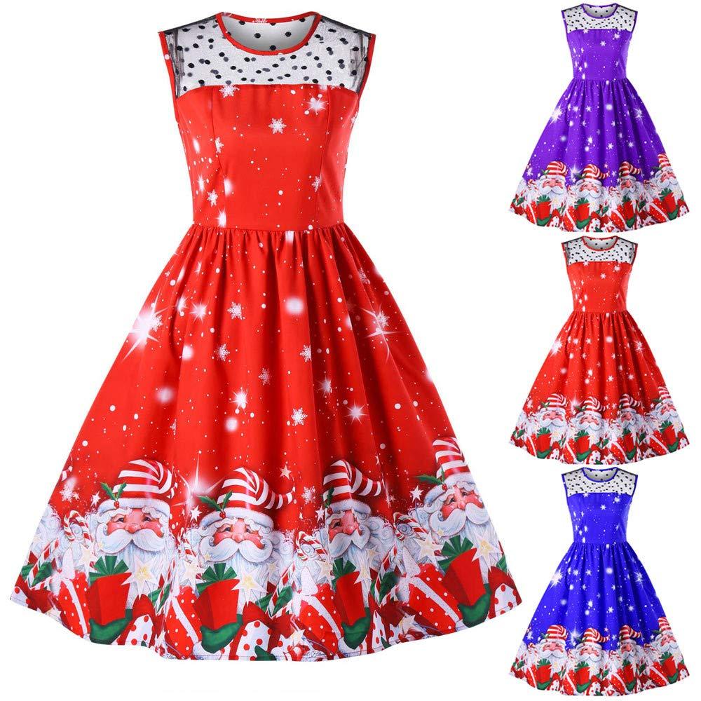 33e2ea24d1 ... YOMXL Women O-Neck Mini Dress Casual Sleeveless Christmas Tree Printed  Vintage Swing Dress Evening ...