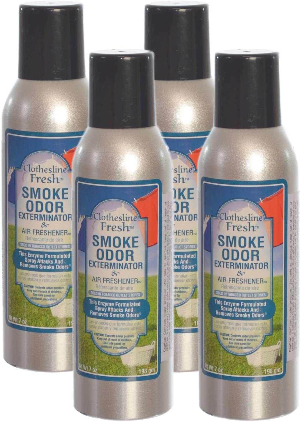 Smoke Odor Exterminator Removes Cigar/Cigarette/Pipe/Tobacco Smells 7oz Spray Air Freshener, Clothesline Fresh (4-Pack)