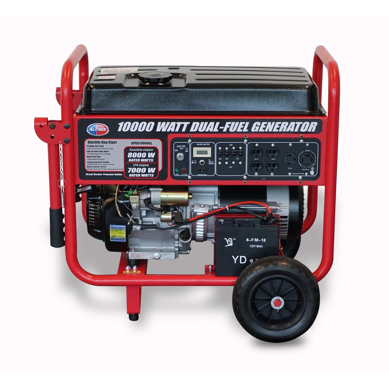 All Power America 10000 Watt Dual Fuel Generator W/ Electric Start, APGG10000GL 10000W Gas/Propane Portable Generator, Red/Black