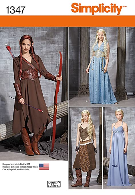 Simplicity Sewing pattern 1347 Medieval style fantasy costumes R5-14 ...