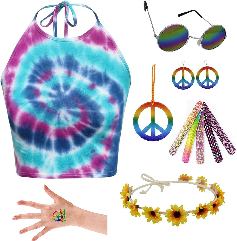 7 Pieces Hippie Costume Set Tie-Dye Halter Top Peace Sign Necklace for Adult 60s 70s Theme Parties