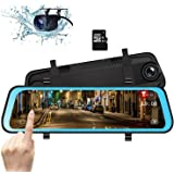 10 Inch Mirror Dash Cam, Dual Lens IPS Touch Screen Front and Rear View Mirror Camera with 1296P 170° Front and 150…