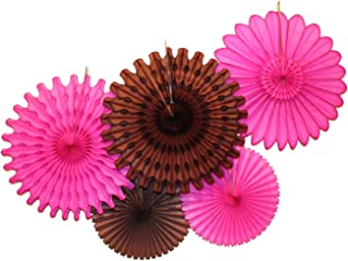 product image for Devra Party 5-Piece Tissue Paper Fans, Cerise Brown