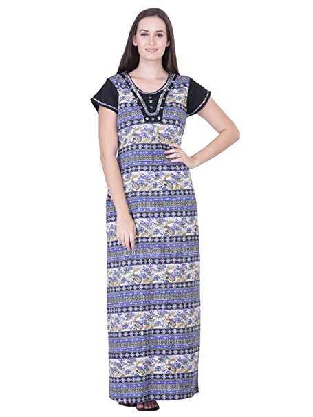9163f2ccc6 HoneyDew - Womens Cotton Hoisery Printed Nighty - Blue Color