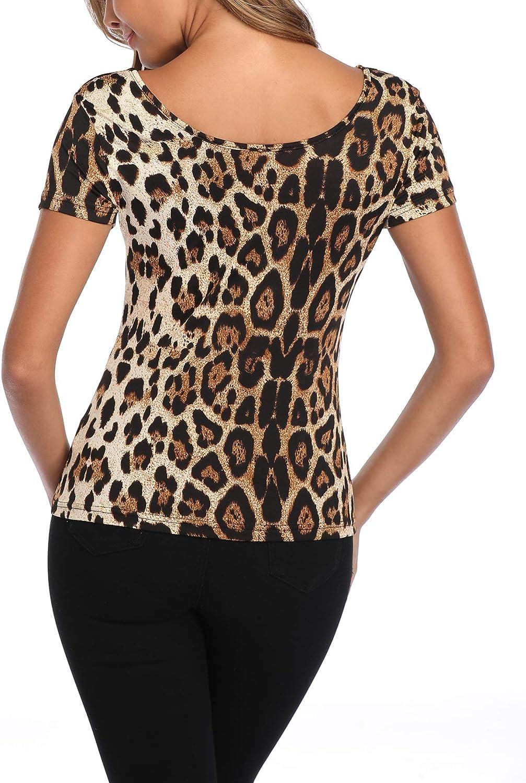 MISS MOLY Camicetta Donna Maglietta Manica Corta Tshirt Casual Blusa V-Collo Tops Camicia