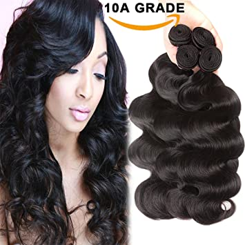 Amazon.com   10A Brazilian Hair Body Wave 3 Bundles Deals 100% Unprocessed  Virgin Human Hair Extensions Brazilian Body Wave Wavy Weave Hair Human  Bundles ... 6abb1472cef0