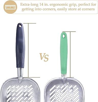 CO-Z Solid Aluminum Alloy Cat Litter Scoop Sifter Deep Shovel with Flexible Long Handle (1PC)