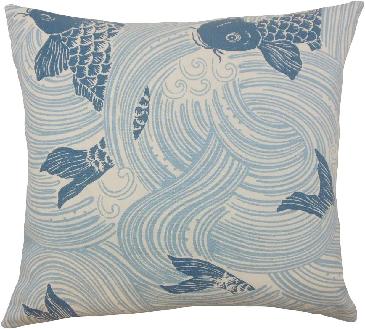The Pillow Collection Utara Geometric Turquoise Down Filled Throw Pillow