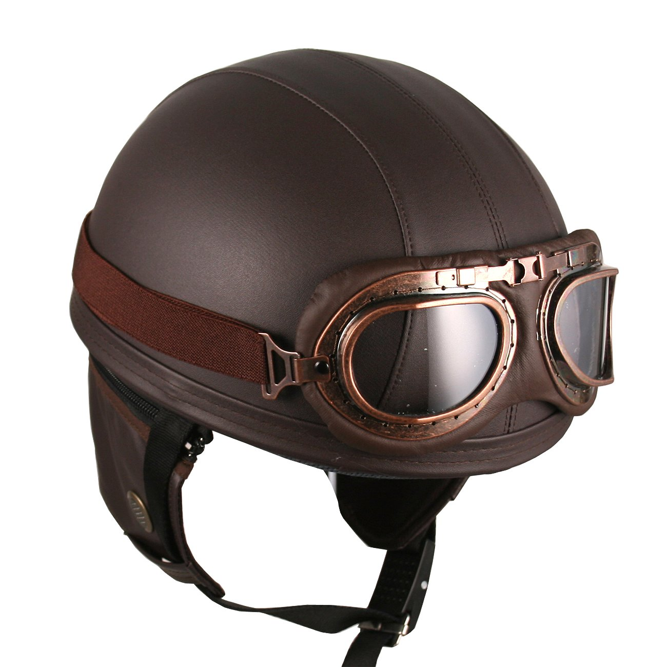 Hanmi Leather Brown Motorcycle Goggles Vintage Garman Style Half Helmets Motorcycle Biker Cruiser Scooter Touring Helmet Amazon In Car Motorbike