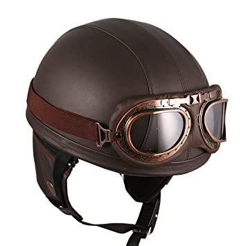 Neuf Cuir Casque Moto Bol Scooter Retro Vintage Lunettes Brun