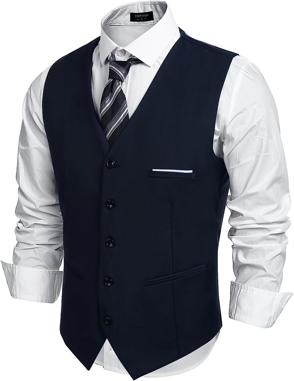 COOFANDY Men's Fashion Formal Slim Fit Business Dress Suit Vest Waistcoat
