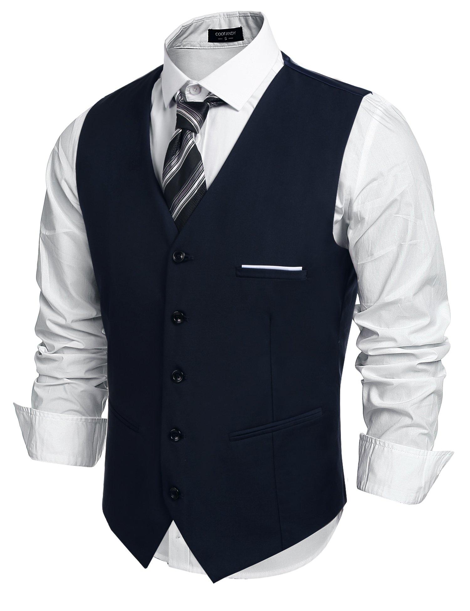 COOFANDY Men's Fashion Formal Slim Fit Business Dress Suit Vest Waistcoat,Navy Blue,Medium ( Chest: 43.3'' )