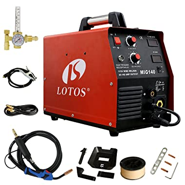 Lotos MIG140 140 Amp MIG Wire Welder Flux Core Welder and Aluminum Gas Shielded Welding with 2T/4T Switch, 110V