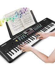 Teclado Electrónico Piano 61 Teclas, Teclado de Piano Portátil Con Atril, Micrófono, Fuente