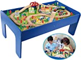 Wooden Toy Train Track / 90 Piece Creative Play Table Set Compatible with Other sets  sc 1 st  Amazon.com & Amazon.com: 62 piece Wooden Train Set with Train Table/Trundle ...