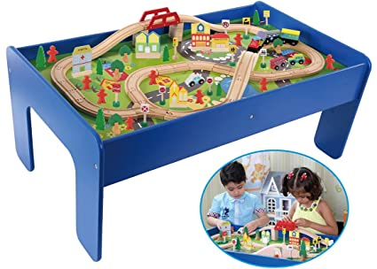Amazon.com: Wooden Toy Train Track / 90 Piece Creative Play Table ...