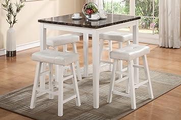 poundex f mesa cuadrada alta sin bancos de madera e imitacin mrmol color blanco