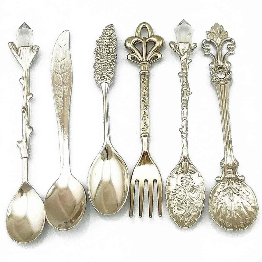 Flypv 6pcs bronce tallado respetuoso del medio ambiente pequeñas cucharas de café de té bifurcación de alimentos cuchara cucharada de plata: Amazon.es: ...