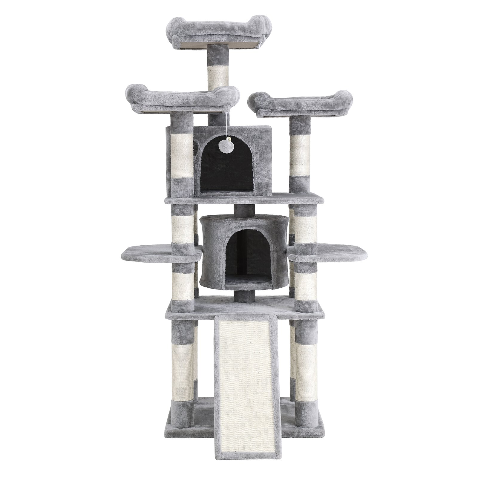 SONGMICS Cat Tree Condo with Scratching Post Pad Cat Tower Furniture House (Light Grey)