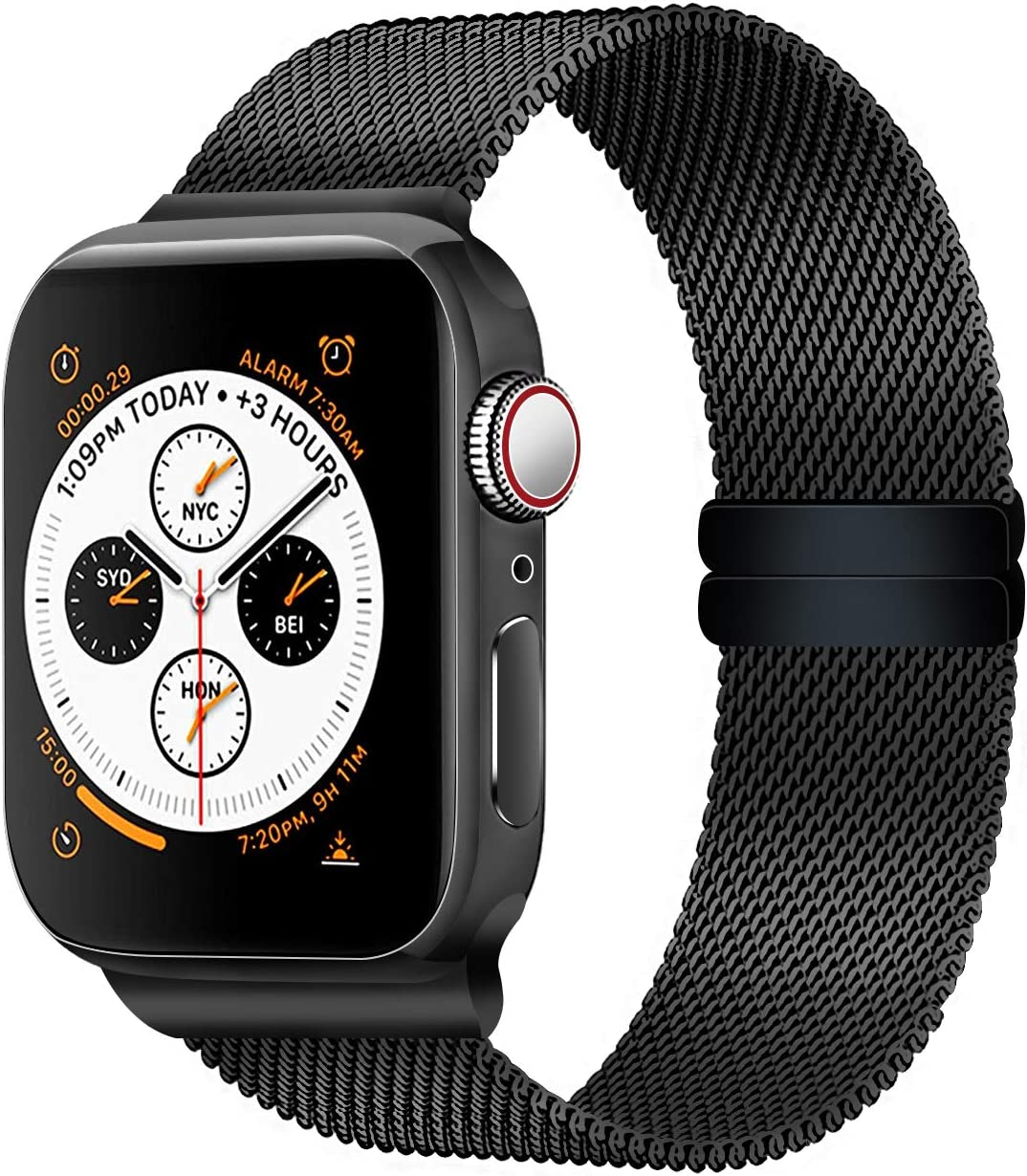 Smart Watch Bands Compatible with Series 5 4 3 2 1, Metal Strap for Apple Watch Band 42mm 44mm, Stainless Steel Mesh Sport Wristbands for Men Women, ...