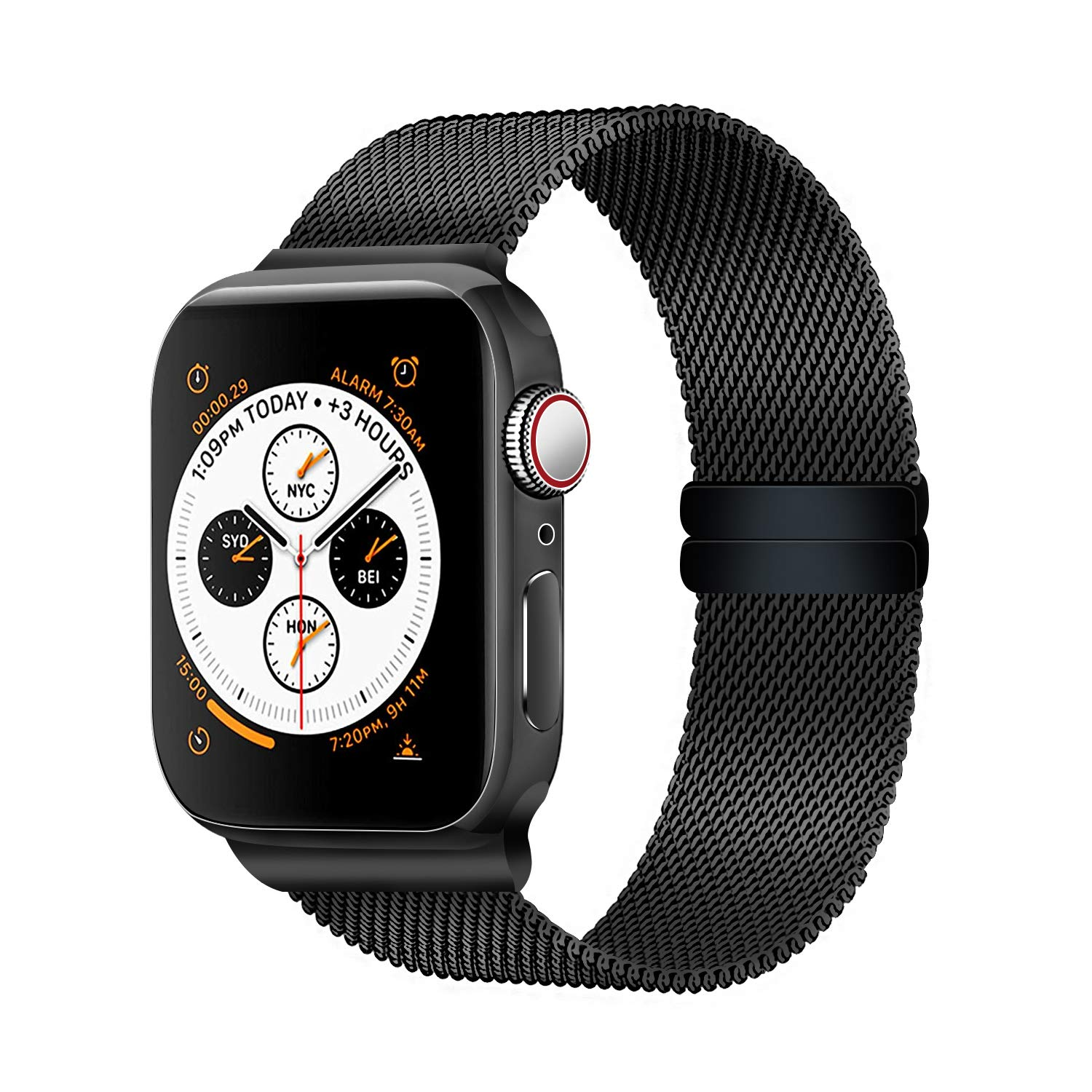 LUNANI Compatible for Apple Watch Band 38mm 40mm 42mm 44mm, Mesh Sport Wristband Loop with Adjustable Magnet Clasp for iWatch Series 1 2 3 4 (Black, 38mm/40mm) by LUNANI