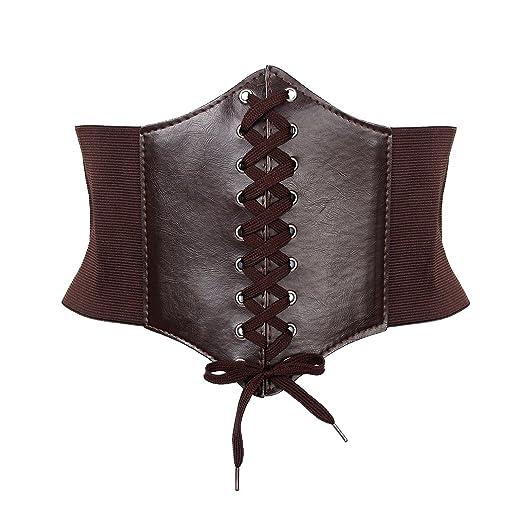 3a82640dfe HOTER Black Lace-up Corset Belts Elastic Waist Cinch Belt For Women (COFFEE)