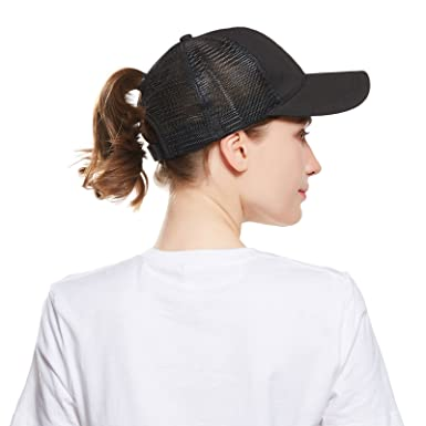 0c966b2a40a Ponytail Baseball Cap for Women - Girls Adjustable Breathable Tennis Cap  Ponycaps Messy Mesh Hat (Black)  Amazon.co.uk  Clothing