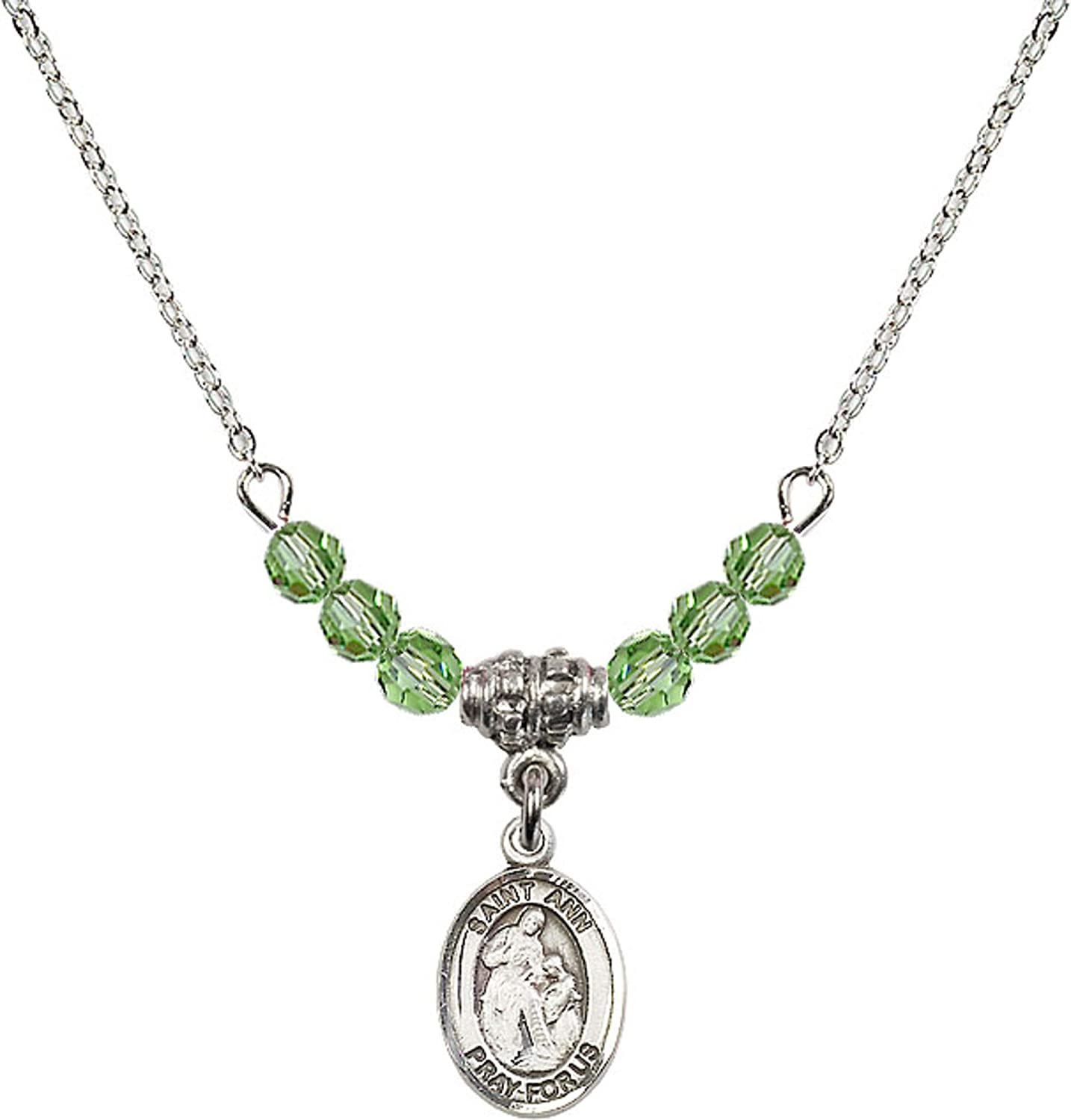Bonyak Jewelry 18 Inch Rhodium Plated Necklace w// 4mm Green August Birth Month Stone Beads and Saint Ann Charm
