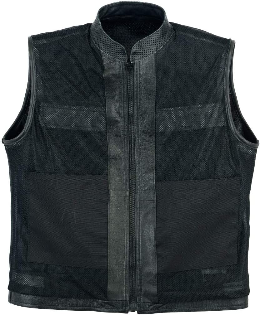 Leatherick New Mens Perforated style Real Leather Waistcoat Black S