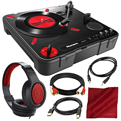 Numark PT01 Scratch Portable DJ Turntable with Headphones and Cables  Accessory Bundle