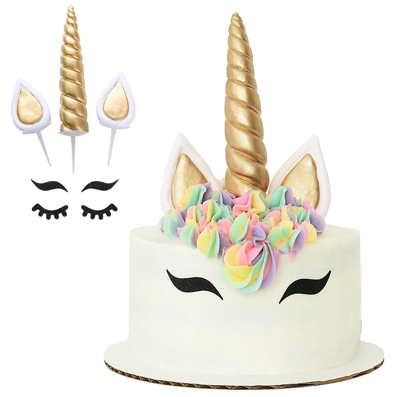Gold Horn Unicorn Horn Ears Lashes Edible Cake Topper