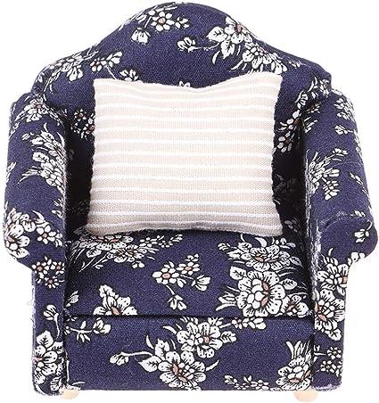 New Miniature Dollhouse White Rocking Chair W// Floral Pillow