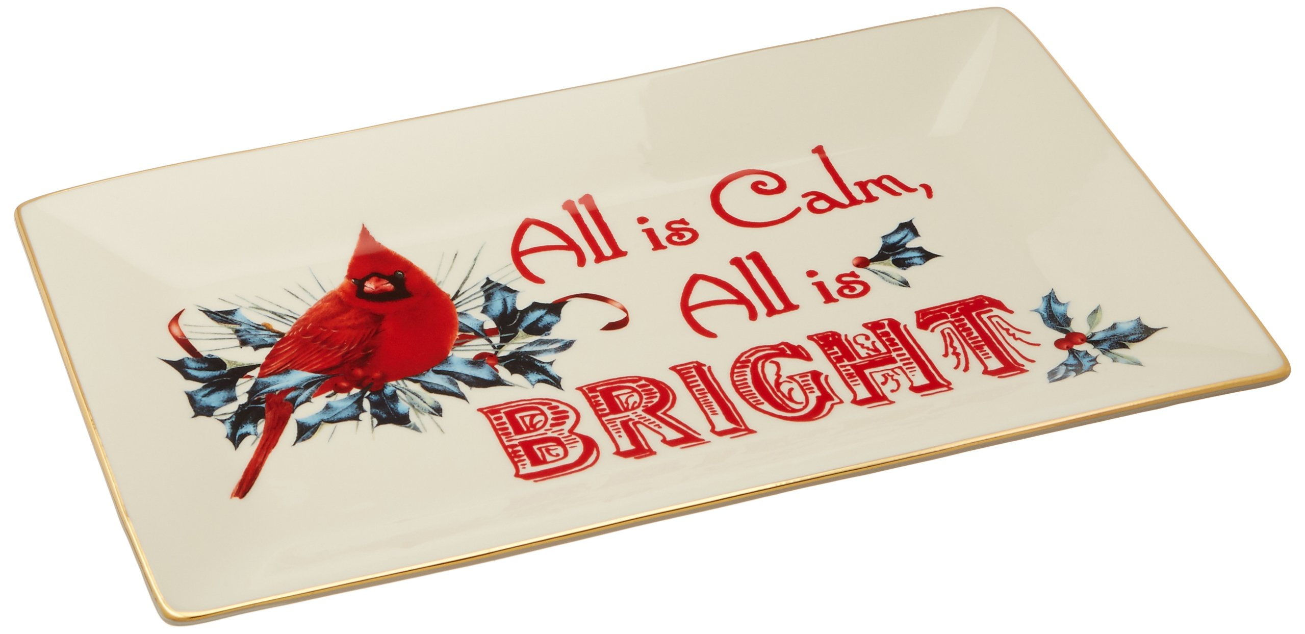 Lenox Winter Greetings Home for The Holidays Sentiment Tray, Ivory