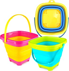 3 otters 3PCS Foldable Bucket, Foldable Pail Bucket Sand Buckets Silicone Collapsible Bucket, for Kids Beach Play Camping Gear Water and Food Jug, Dog Bowls, Camping, 2L