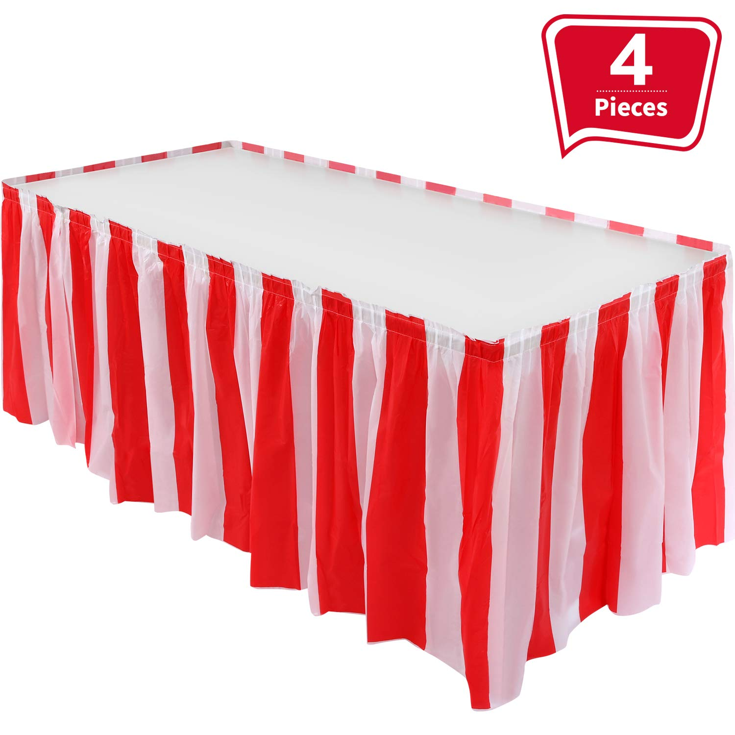 4 Pieces Red White Striped Table Skirt Circus Theme Table Skirt Carnival Table Skirt Decoration for Family Dinner Birthday Party Supplies by Pangda