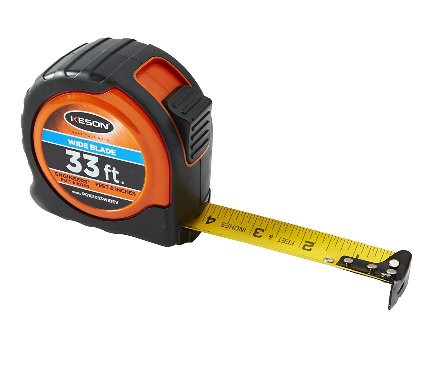 Keson PG18M25WIDEV Short Tape Measure With Wide Nylon Coated Steel Blade Graduations Ft In 1 8 Cm Mm 3 16 Inch By 25 Foot 75 Meter