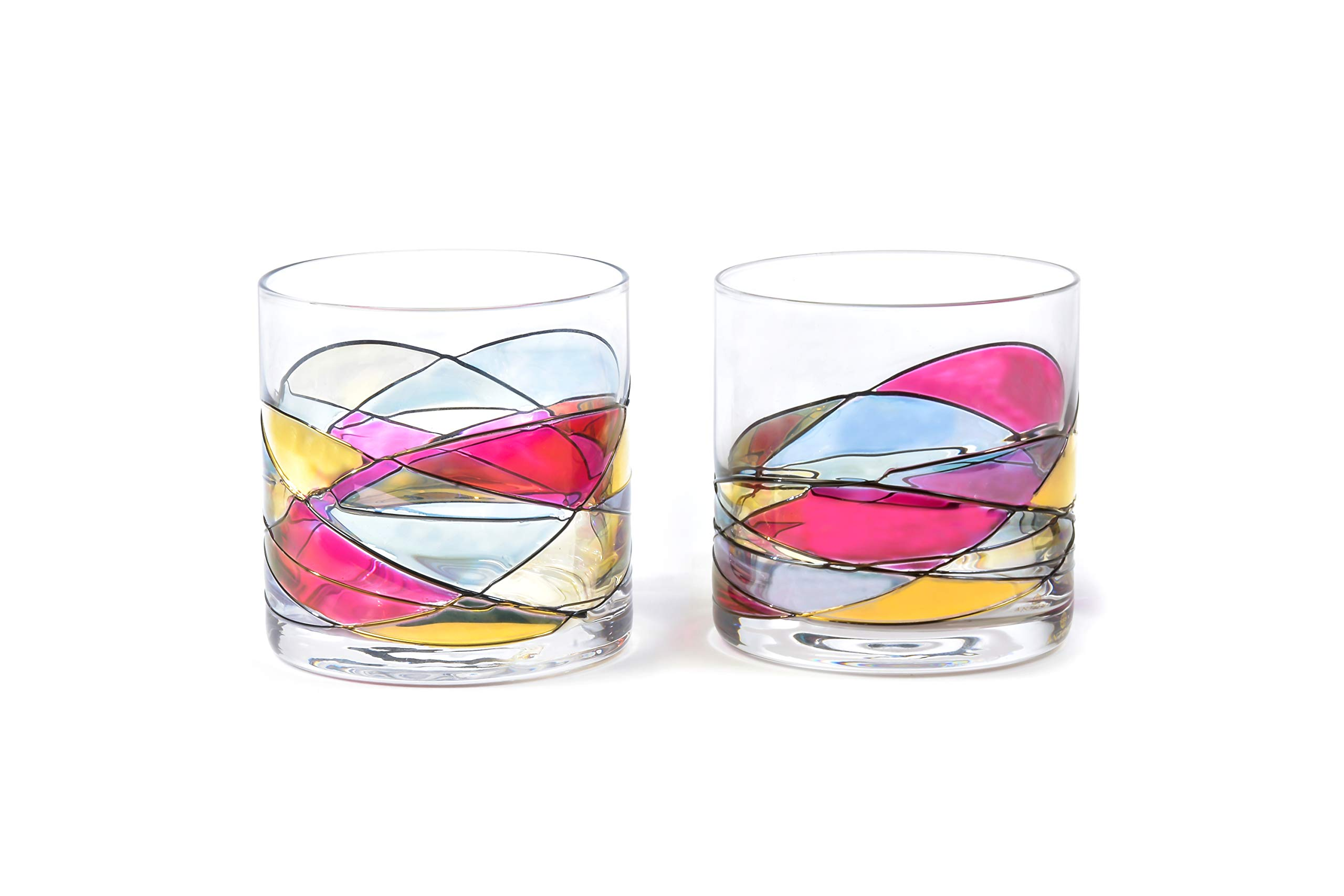 ANTONI BARCELONA Whiskey Bourbon Glass 12Oz SET 2 Sagrada Red Line Hand Painted Mouth Blown Unique gifts & presents dad birthday spiritual moments stunning and gorgeous colorful old fashioned on Rocks by ANTONI BARCELONA